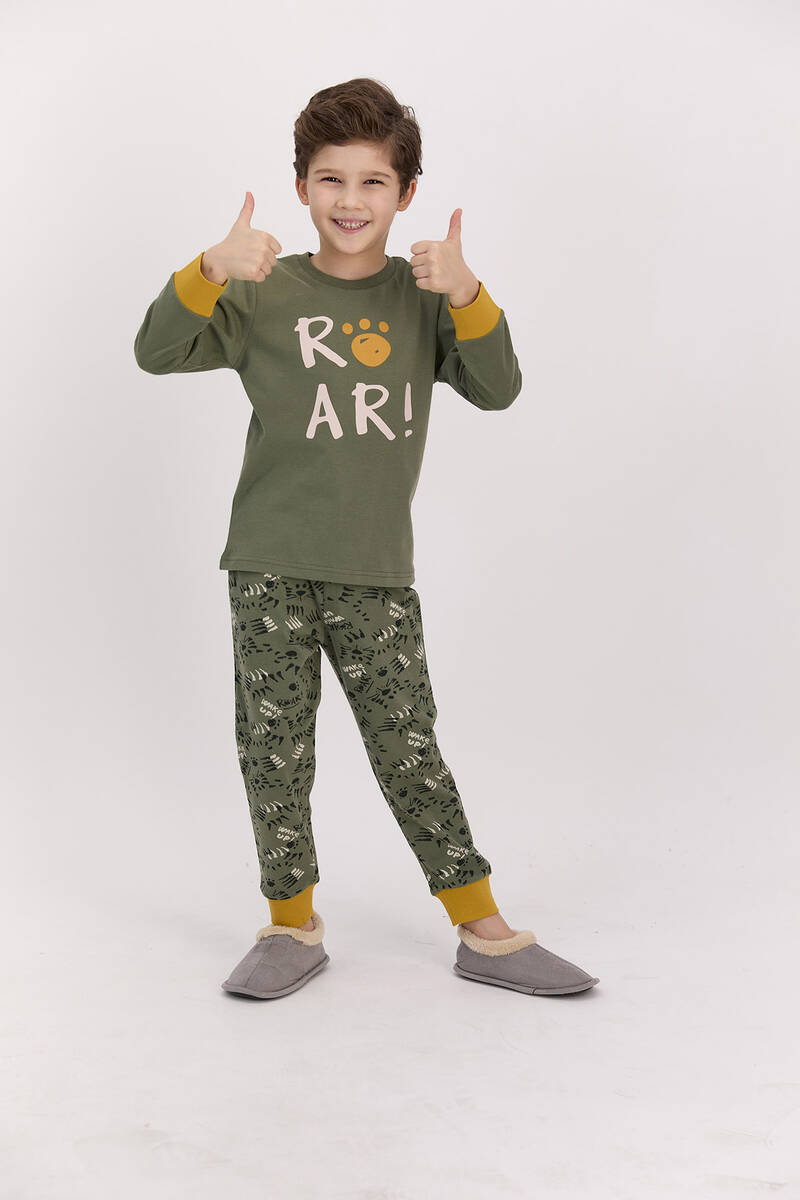 RolyPoly - RolyPoly Roar Haki Erkek Çocuk Pijama Takımı