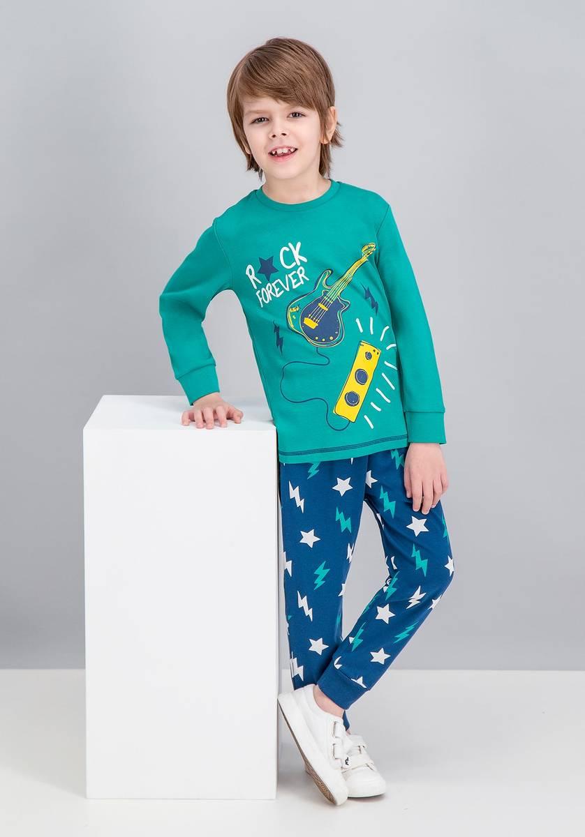 RolyPoly - RolyPoly Rock Forever Zümrüt Yeşil Erkek Çocuk Pijama Takımı