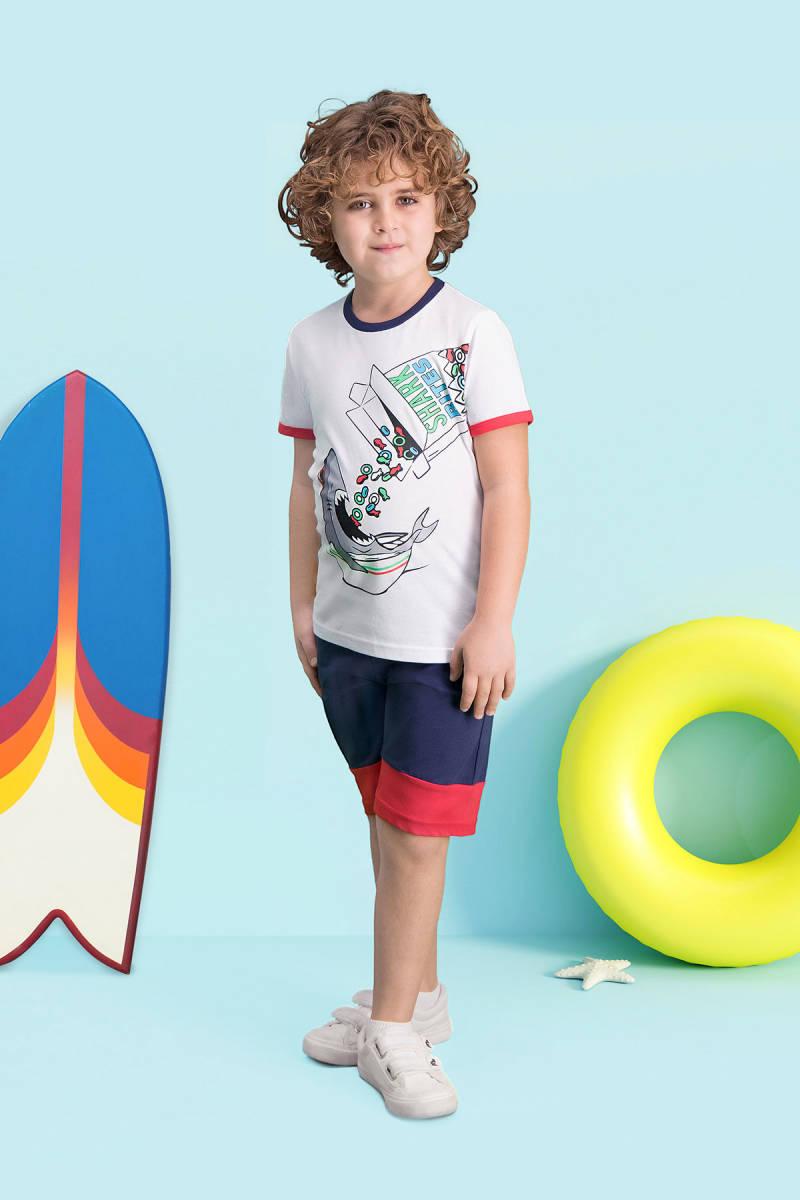 RolyPoly - RolyPoly Shark Bites Beyaz Erkek Çocuk Bermuda Takım