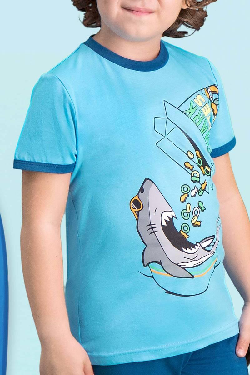RolyPoly - RolyPoly Shark Bites Turkuaz Erkek Çocuk Bermuda Takım (1)