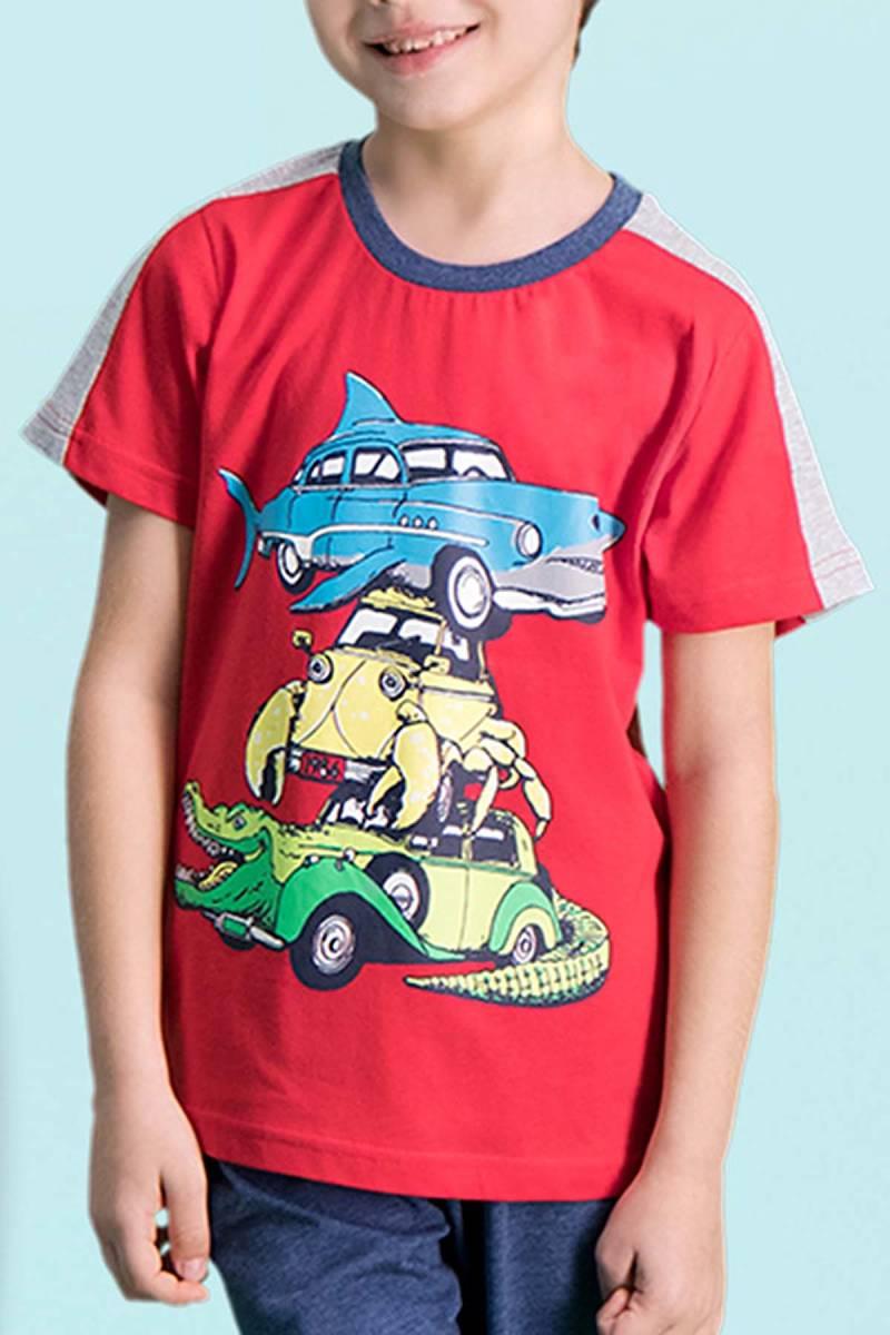 RolyPoly - RolyPoly Shark Car Kırmızı Erkek Çocuk Kapri Takım (1)
