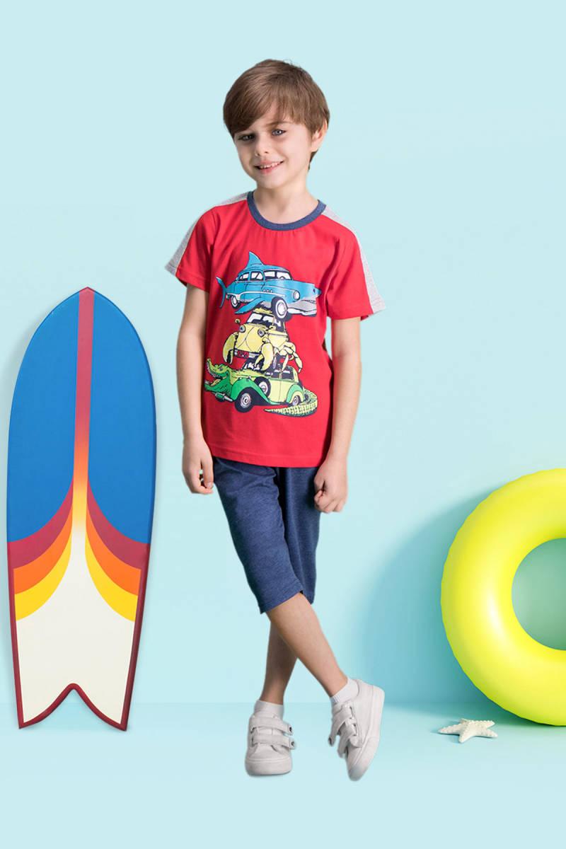 RolyPoly - RolyPoly Shark Car Kırmızı Erkek Çocuk Kapri Takım