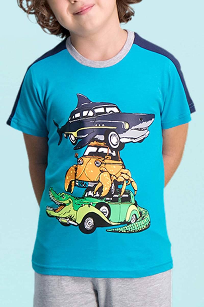RolyPoly - RolyPoly Shark Car Petrol Erkek Çocuk Kapri Takım (1)