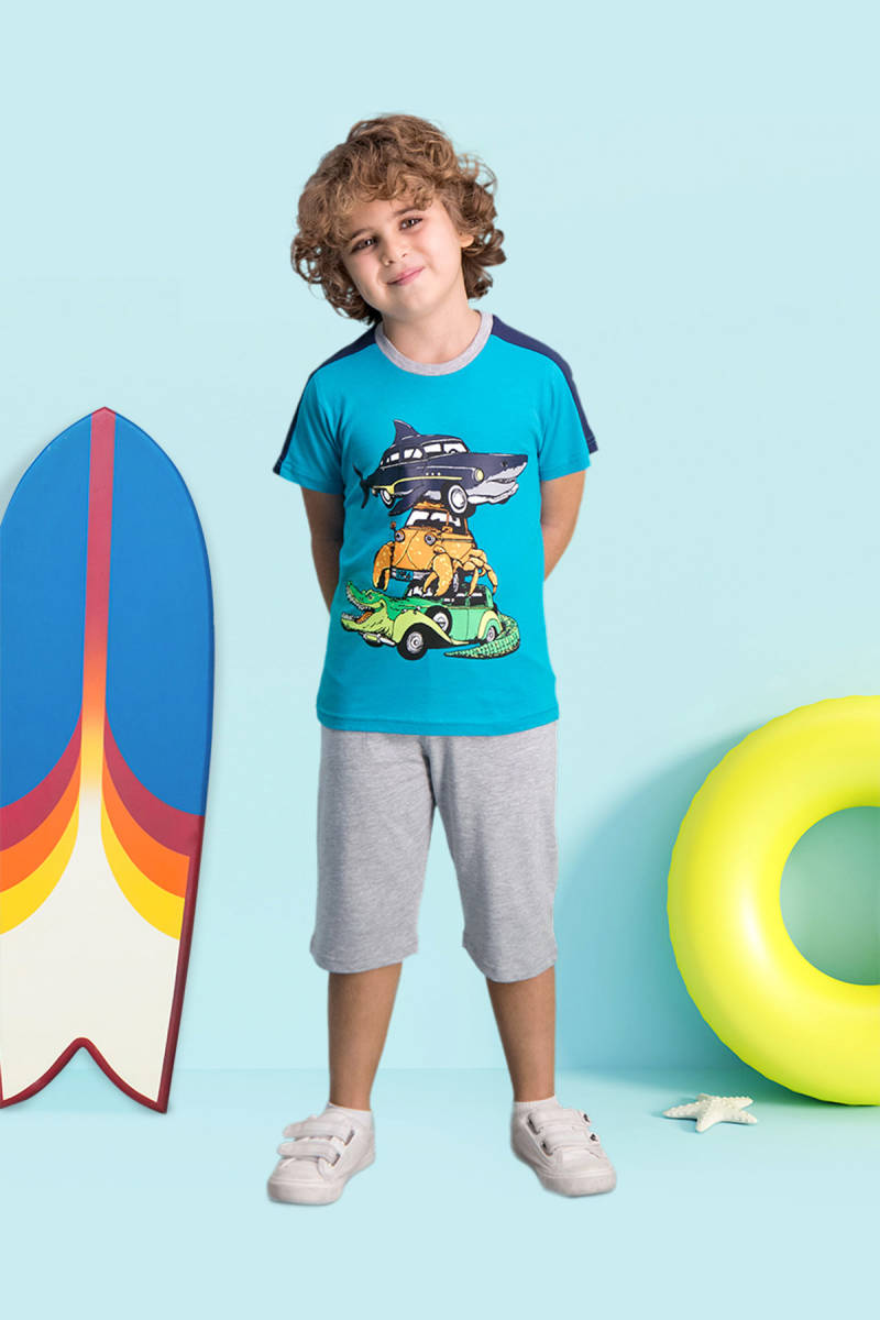 RolyPoly - RolyPoly Shark Car Petrol Erkek Çocuk Kapri Takım