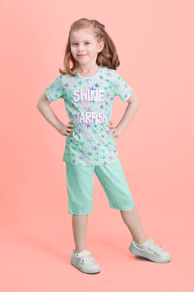 RolyPoly - RolyPoly Shine Starfish Açık Yeşil Kız Çocuk Kapri Takım