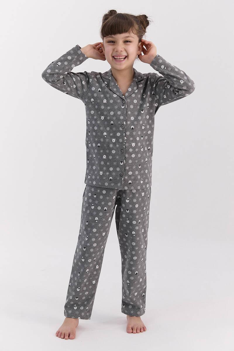 RolyPoly - RolyPoly Snows Antramelanj Kız Çocuk Gömlek Pijama Takımı