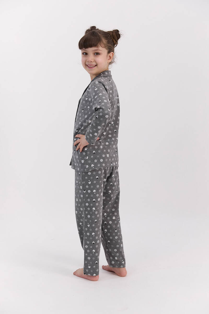 RolyPoly - RolyPoly Snows Antramelanj Kız Çocuk Gömlek Pijama Takımı (1)