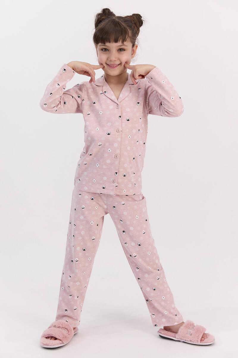 RolyPoly - RolyPoly Snows Pembemelanj Kız Çocuk Gömlek Pijama Takımı