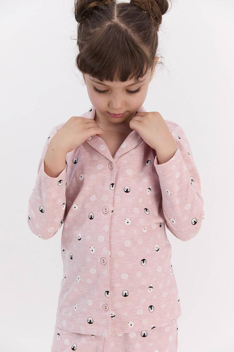 RolyPoly - RolyPoly Snows Pembemelanj Kız Çocuk Gömlek Pijama Takımı (1)