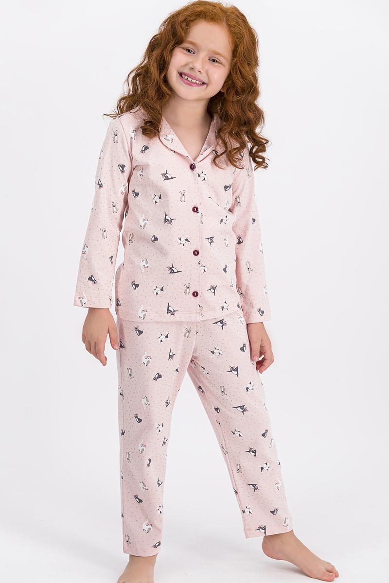 RolyPoly - Rolypoly Somon Little Cats Kız Çocuk Gömlek Pijama Takımı