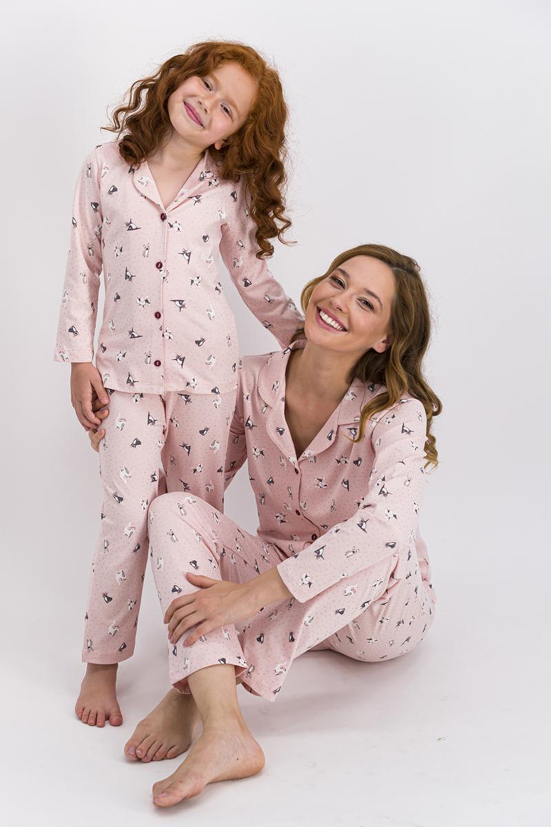RolyPoly - Rolypoly Somon Little Cats Kız Çocuk Gömlek Pijama Takımı (1)