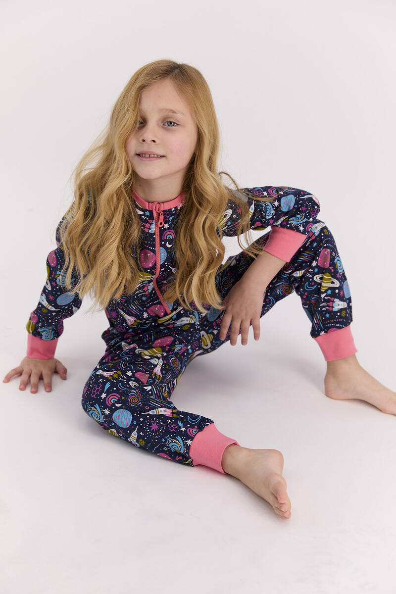 RolyPoly - RolyPoly Space Lacivert Kız Çocuk Tulum (1)
