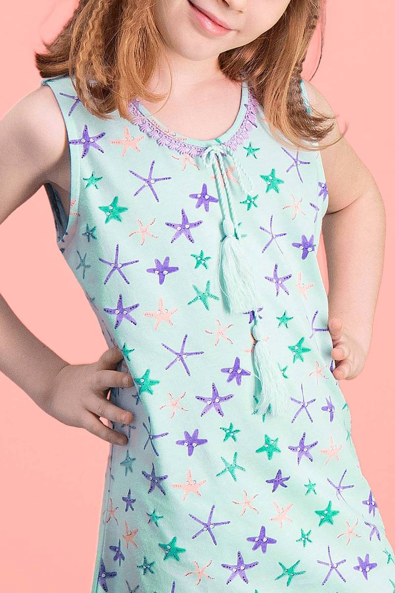 RolyPoly - RolyPoly Starfish Yeşil Kız Çocuk Gecelik (1)