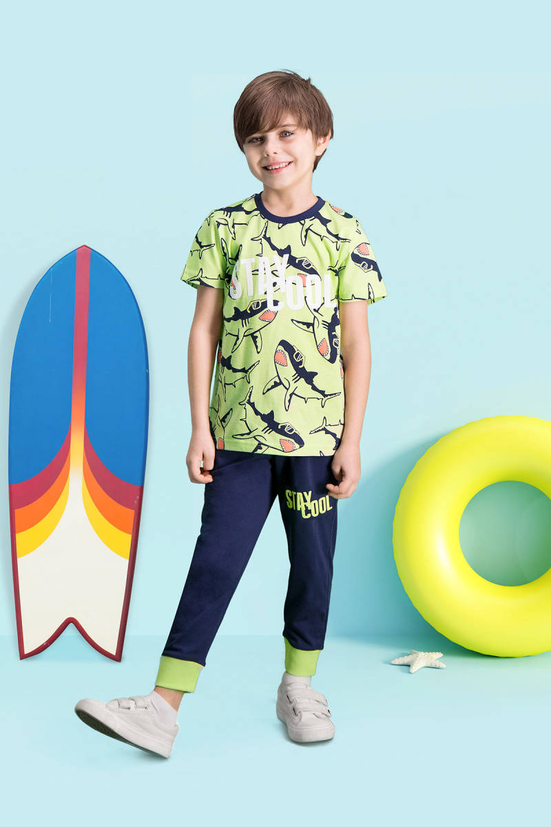 RolyPoly - RolyPoly Stay Cool Yeşil Erkek Çocuk Pijama Takımı