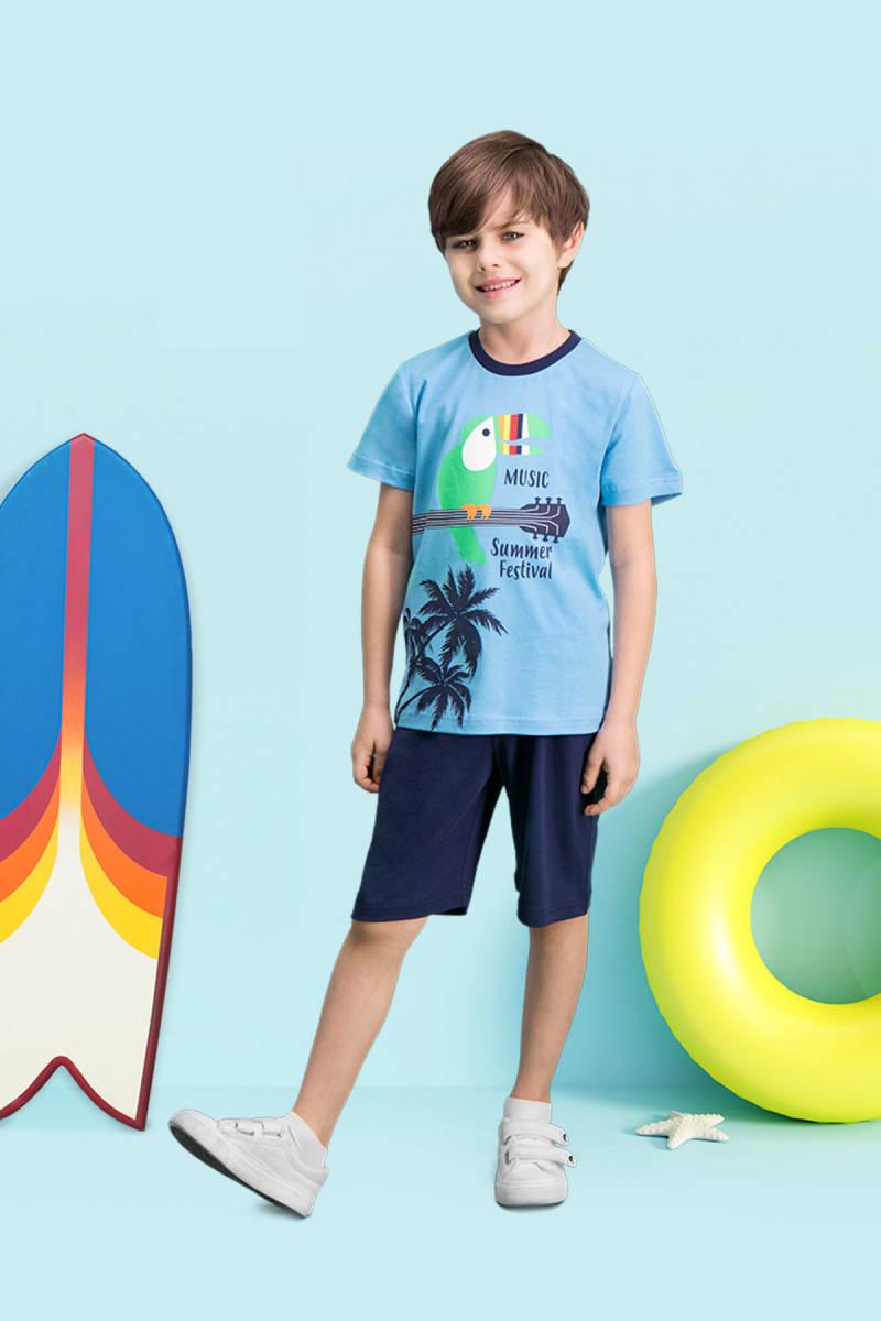 RolyPoly - RolyPoly Summer Festival Mavi Erkek Çocuk Bermuda Takım