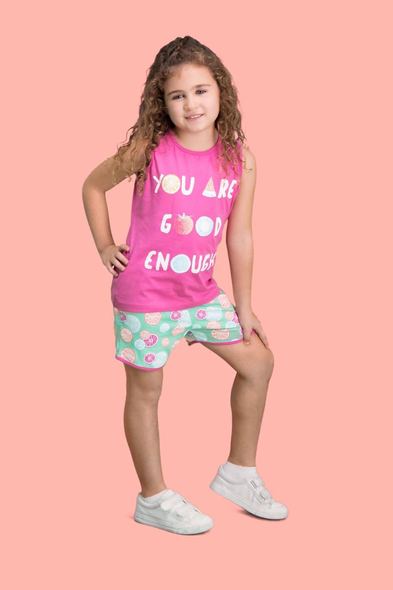 RolyPoly - RolyPoly Summer Fruits Fuşya Kız Çocuk Şort Takım