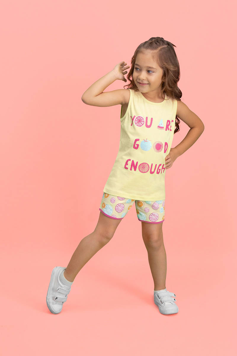 RolyPoly - RolyPoly Summer Fruits Limon Sarı Kız Çocuk Şort Takım