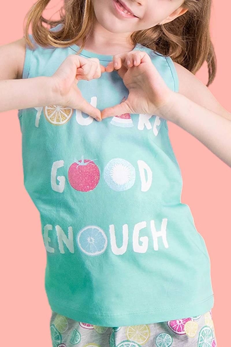 RolyPoly - RolyPoly Summer Fruits Mint Yeşili Kız Çocuk Şort Takım (1)