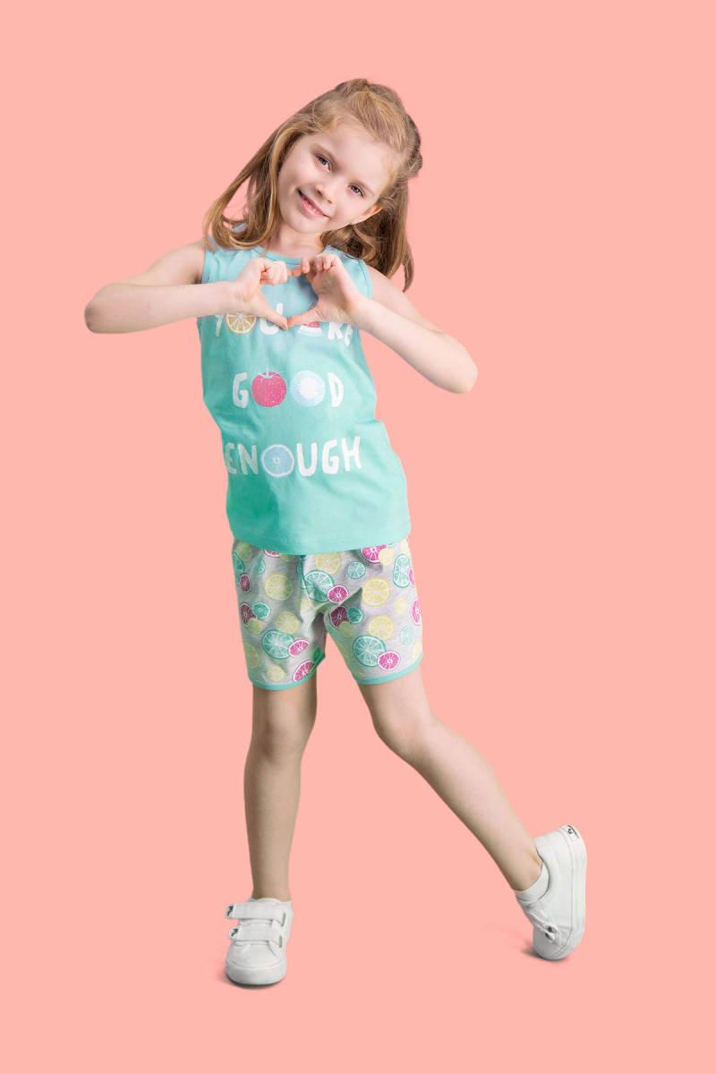 RolyPoly - RolyPoly Summer Fruits Mint Yeşili Kız Çocuk Şort Takım