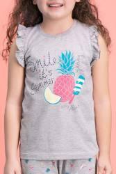 RolyPoly - RolyPoly Summer Smile Açık Gri Kız Çocuk Şort Takım (1)