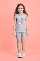 RolyPoly - RolyPoly Summer Smile Açık Gri Kız Çocuk Şort Takım