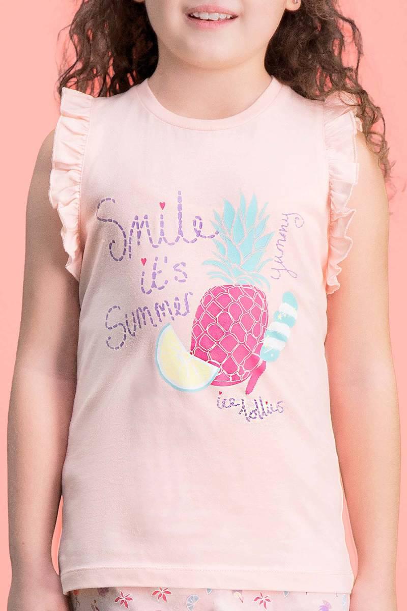 RolyPoly - RolyPoly Summer Smile İnci Pembe Kız Çocuk Şort Takım (1)