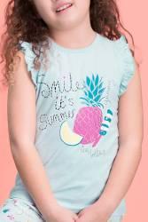 RolyPoly Summer Smile Yeşil Kız Çocuk Şort Takım - Thumbnail
