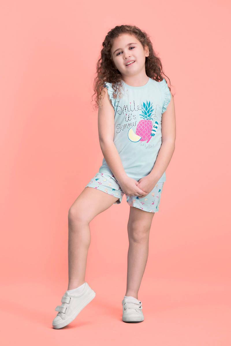 RolyPoly - RolyPoly Summer Smile Yeşil Kız Çocuk Şort Takım