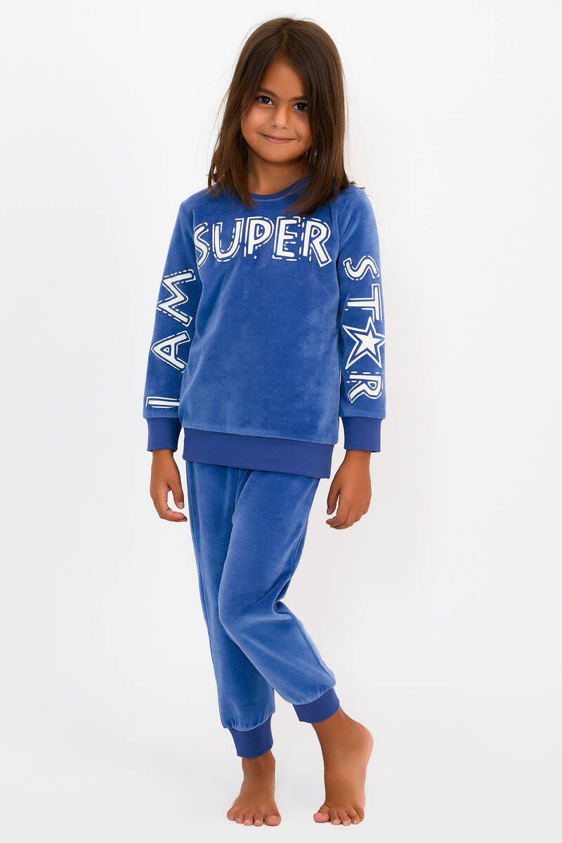 RolyPoly - RolyPoly Super Star İndigo Kız Çocuk Kadife Eşofman Takımı