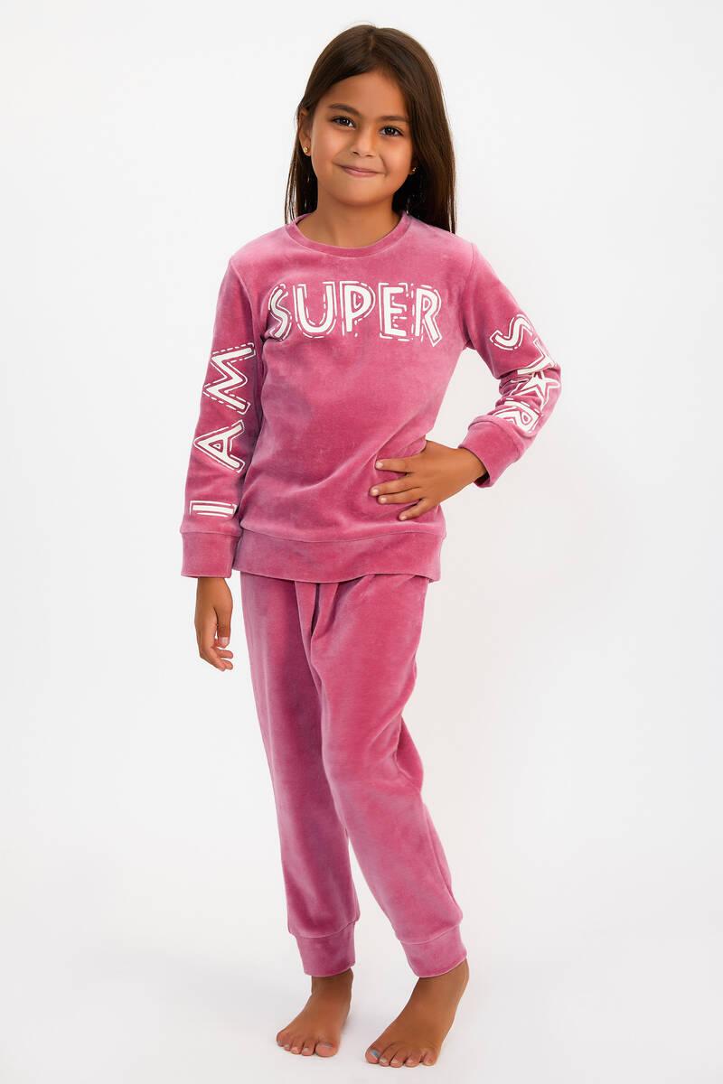 RolyPoly - RolyPoly Super Star Menekçe Kız Çocuk Kadife Eşofman Takımı