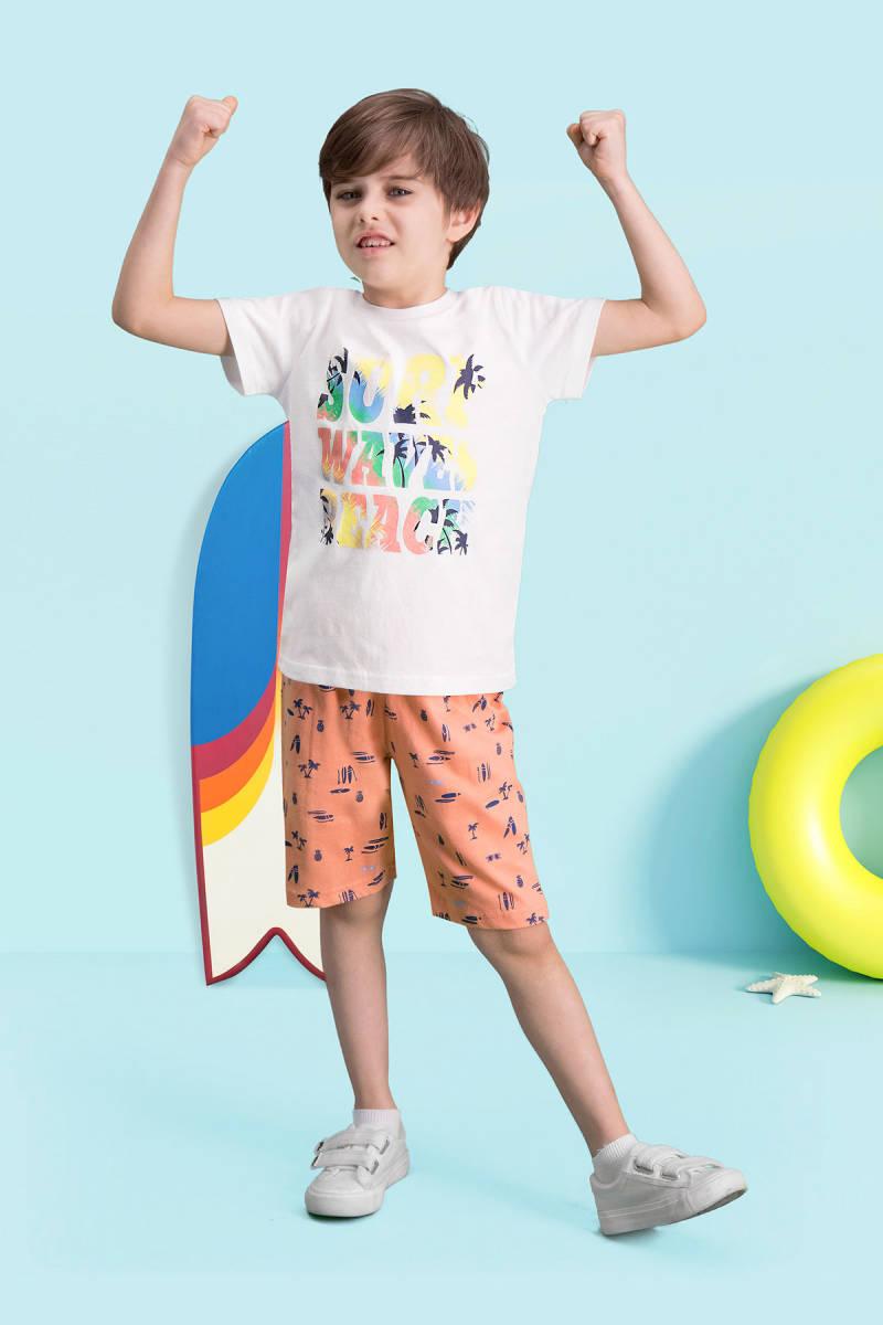 RolyPoly - RolyPoly Surf Beach Krem Erkek Çocuk Bermuda Takım