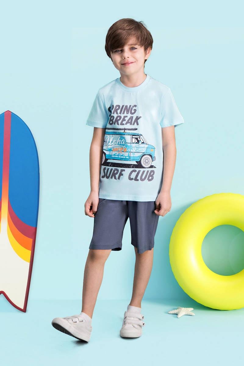 RolyPoly - RolyPoly Surf Club Açık Mavi Erkek Çocuk Bermuda Takım