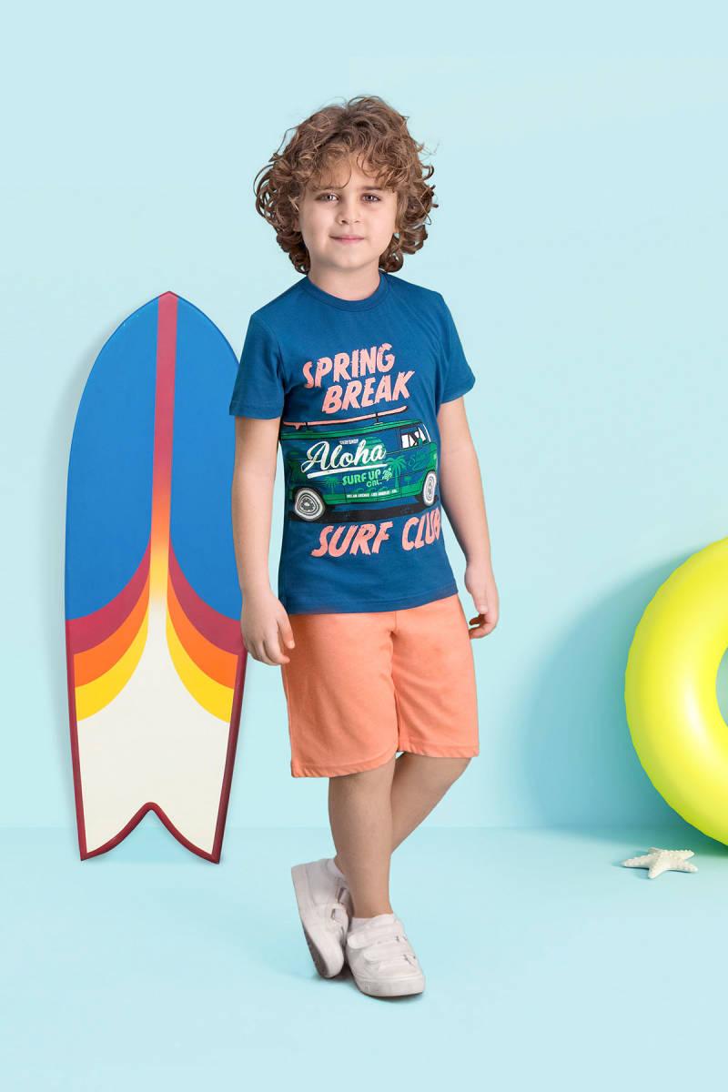RolyPoly - RolyPoly Surf Club Gece Mavisi Erkek Çocuk Bermuda Takım