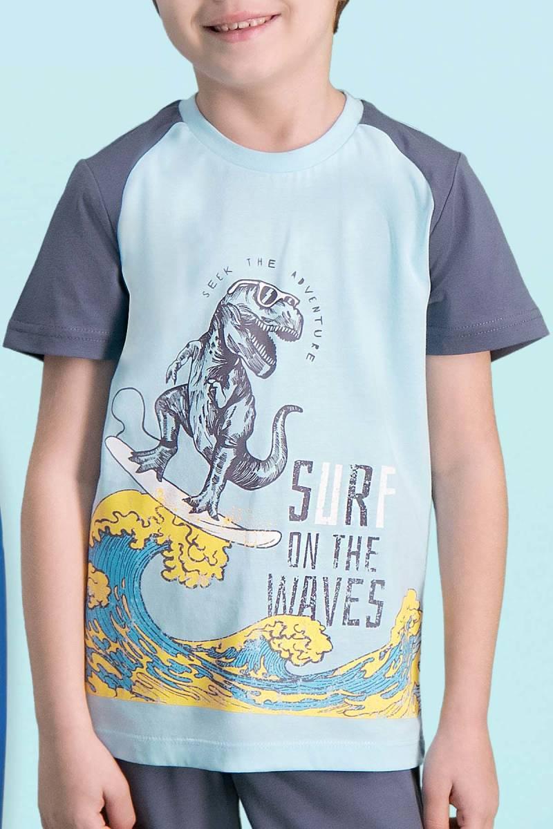 RolyPoly - RolyPoly Surf Wawes Açık Mavi Erkek Çocuk Bermuda Takım (1)