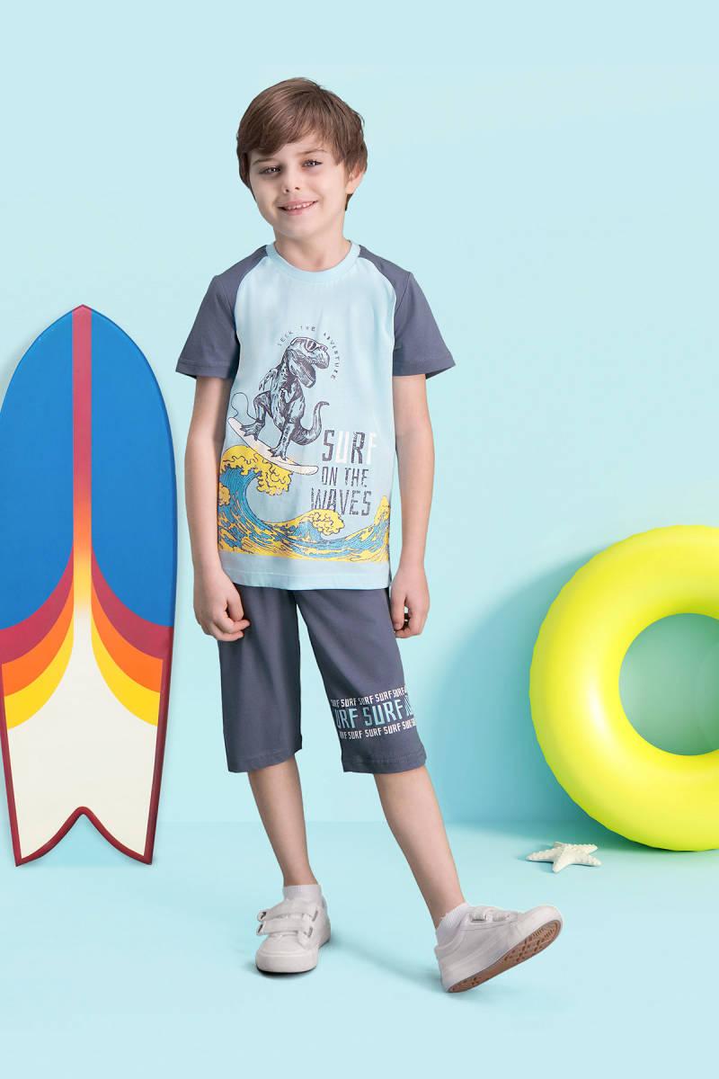 RolyPoly - RolyPoly Surf Wawes Açık Mavi Erkek Çocuk Bermuda Takım