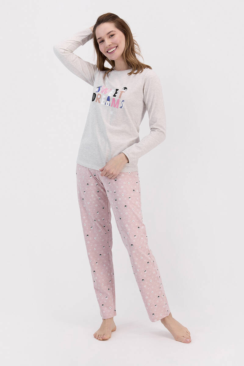 RolyPoly - RolyPoly Sweat Dreams Bejmelanj Kadın Pijama Takımı