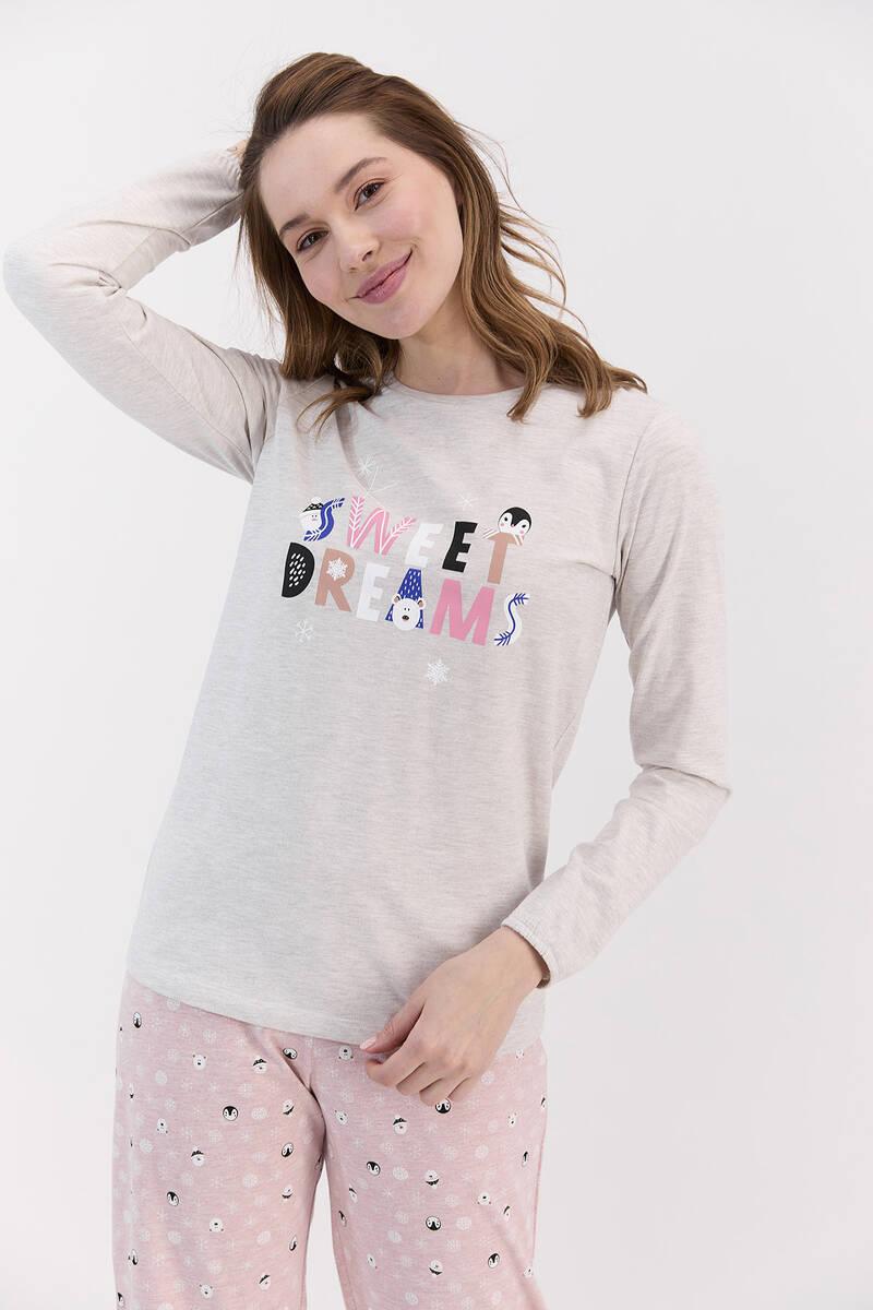 RolyPoly - RolyPoly Sweat Dreams Bejmelanj Kadın Pijama Takımı (1)