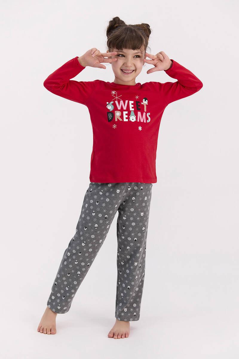 RolyPoly - RolyPoly Sweat Dreams Kırmızı Kız Çocuk Pijama Takımı