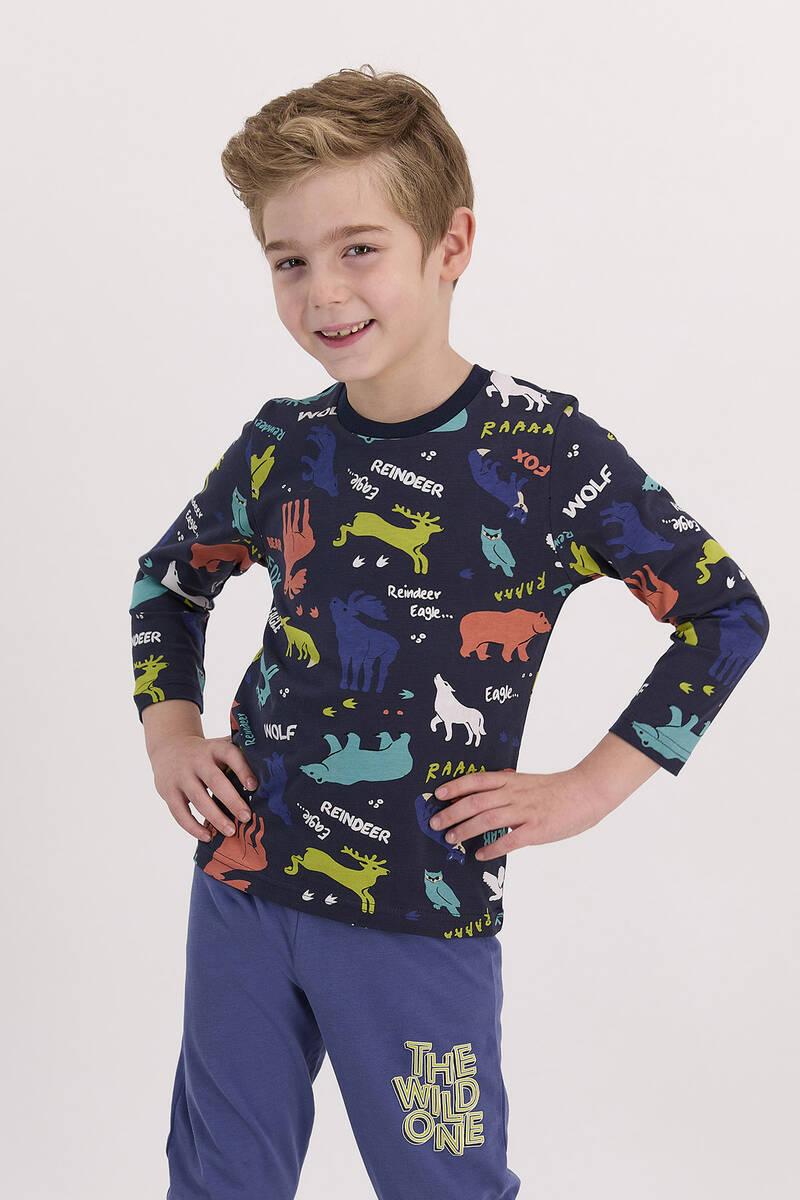 RolyPoly - RolyPoly The Wild One Lacivert Erkek Çocuk Pijama Takımı (1)