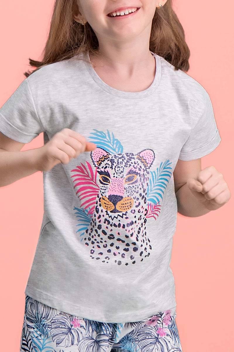 RolyPoly - RolyPoly Tiger Safari Açık Gri Kız Çocuk Kapri Takım (1)