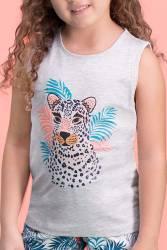 RolyPoly - RolyPoly Tiger Safari Açık Gri Kız Çocuk Şort Takım (1)