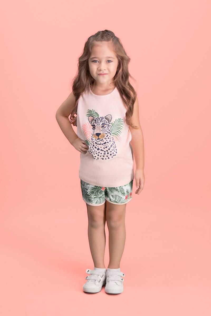 RolyPoly - RolyPoly Tiger Safari Açık Pembe Kız Çocuk Şort Takım