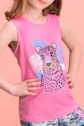 RolyPoly Tiger Safari Koyu Pembe Kız Çocuk Şort Takım - Thumbnail