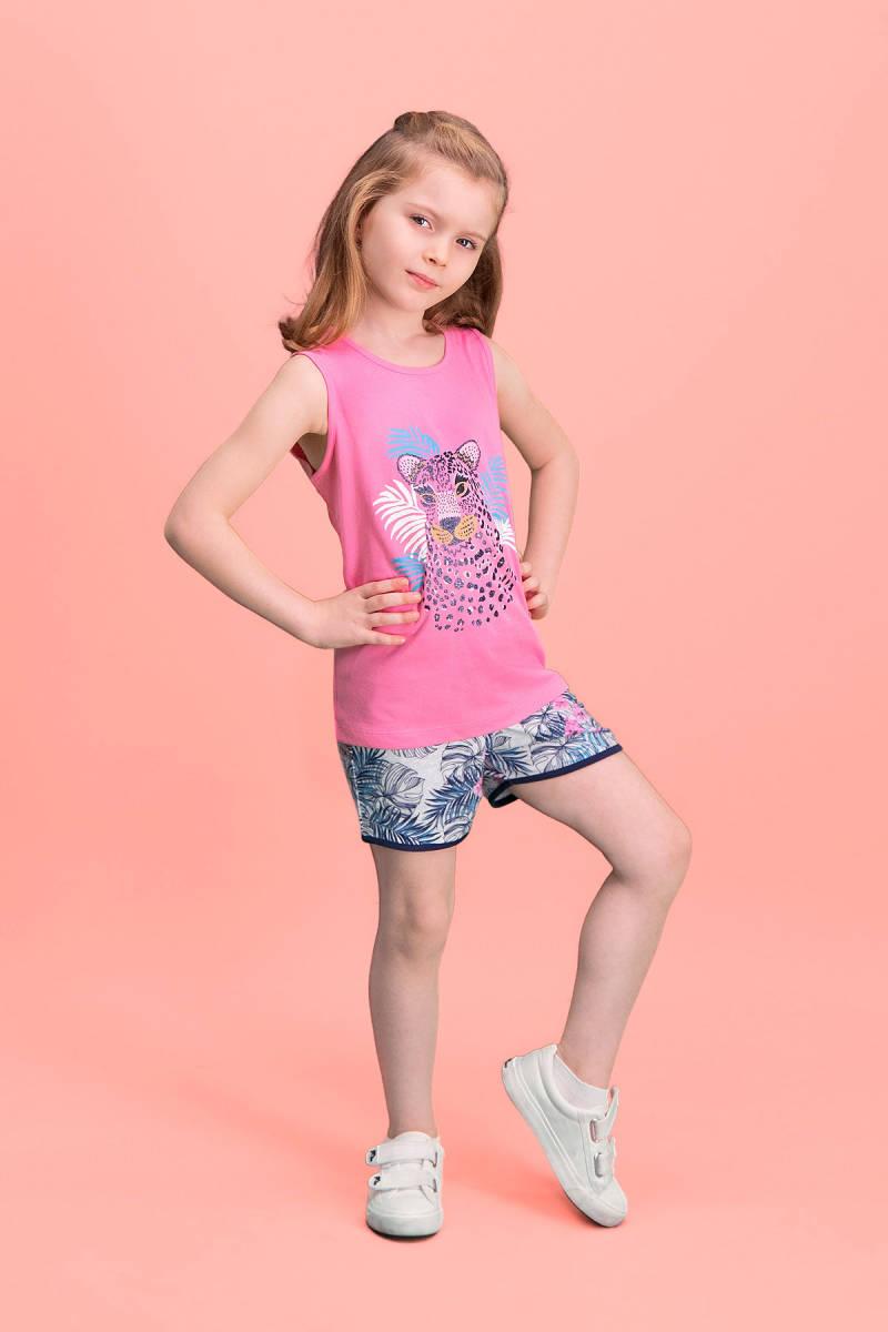 RolyPoly - RolyPoly Tiger Safari Koyu Pembe Kız Çocuk Şort Takım