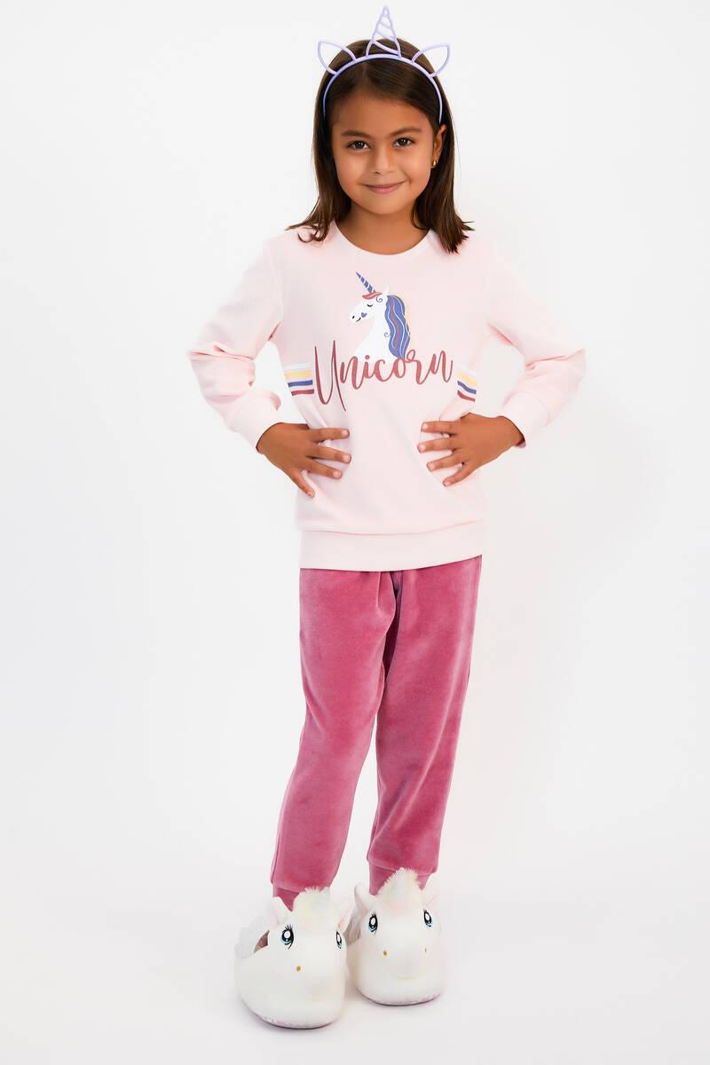 RolyPoly - RolyPoly Unicorn Açık Pembe Kız Çocuk Kadife Eşofman Takımı (1)