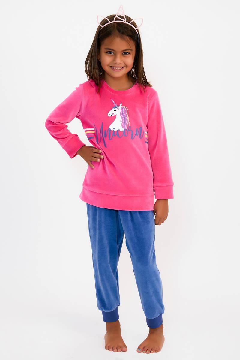 RolyPoly - RolyPoly Unicorn Şeker Pembe Kız Çocuk Kadife Eşofman Takımı (1)