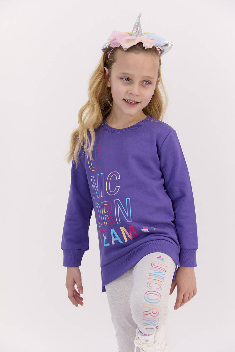 RolyPoly - RolyPoly Unicorn Team Violet Kız Çocuk Tayt Takım (1)