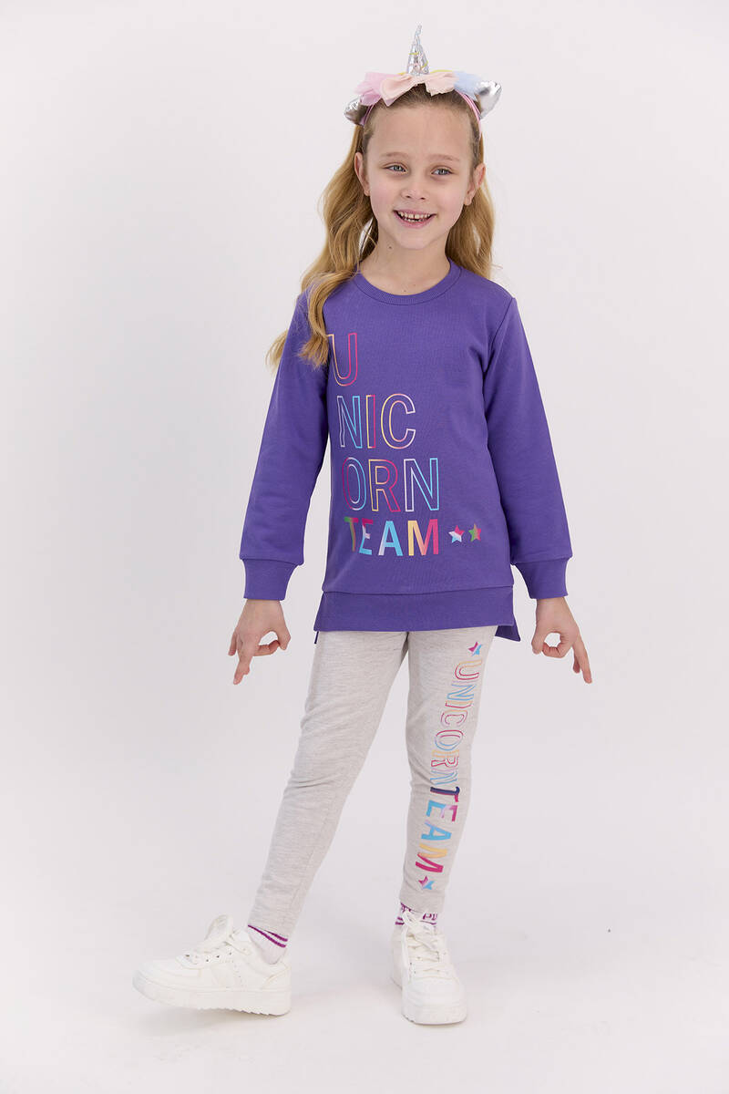 RolyPoly - RolyPoly Unicorn Team Violet Kız Çocuk Tayt Takım