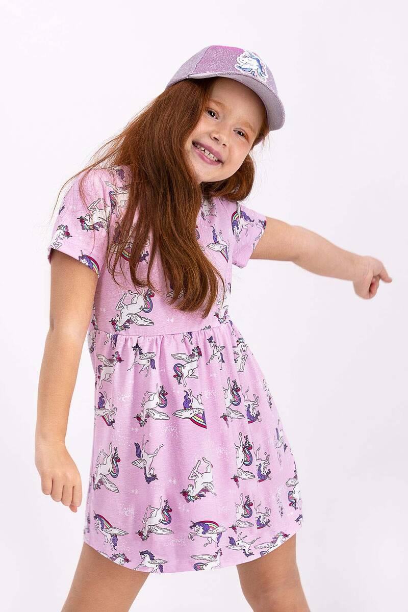 RolyPoly - Rolypoly Unicorn Toz Pembe Kız Çocuk Elbise