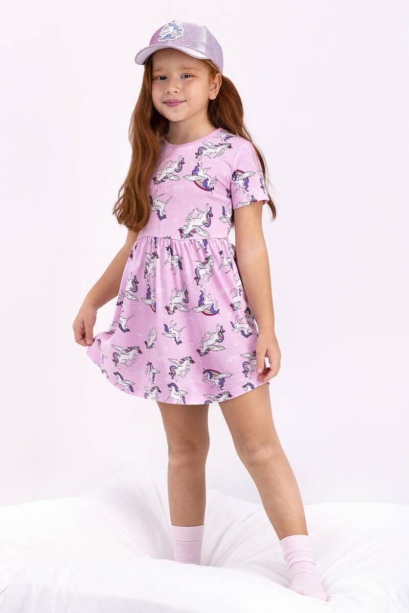 RolyPoly - Rolypoly Unicorn Toz Pembe Kız Çocuk Elbise (1)